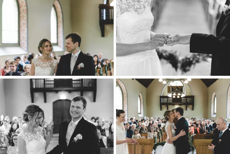 Brautpaar beim Ringe anstecken und erster Kuss
