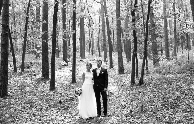 Brautpaar steht in Nadelwald