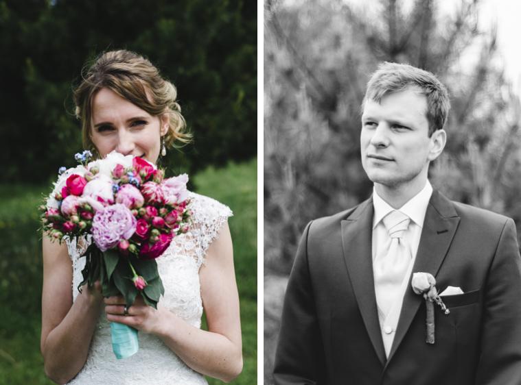 Einzelportraits von Braut und Bräutigam