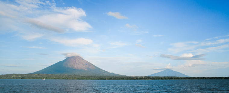 Photo of two volcanoes Concepción and Maderas on Ometepe Island Nicaragua