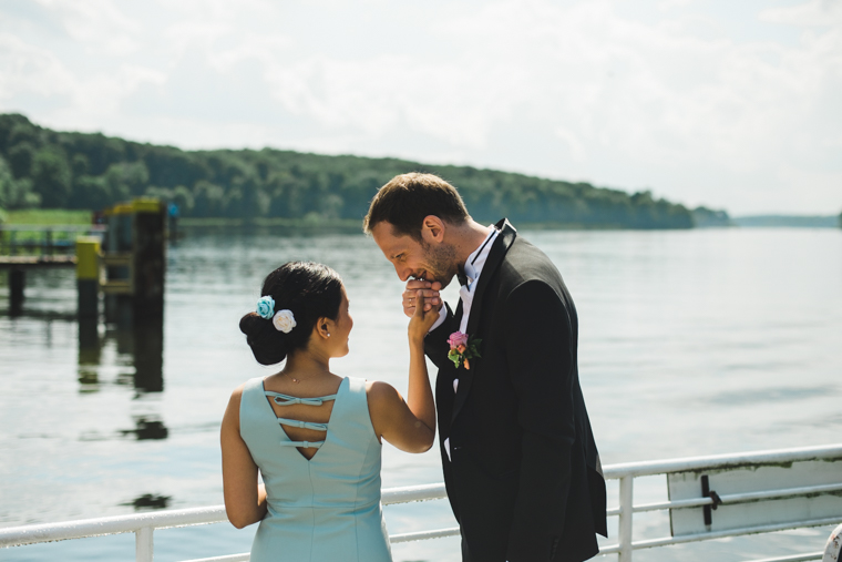Bride and groom on ferry in Berlin Wannsee