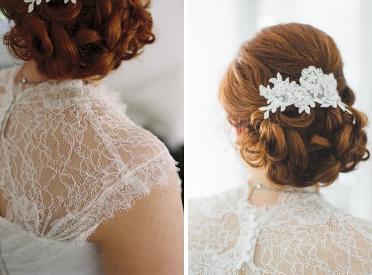Nahaufnahmen von Haaren und Styling der Braut