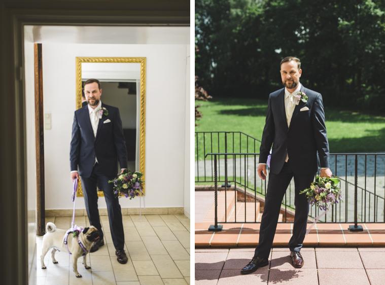 Portrait eines Bräutigams mit Hund
