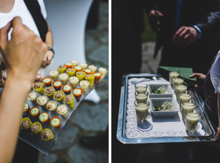 Snacks Häppchen auf Hochzeitsempfang