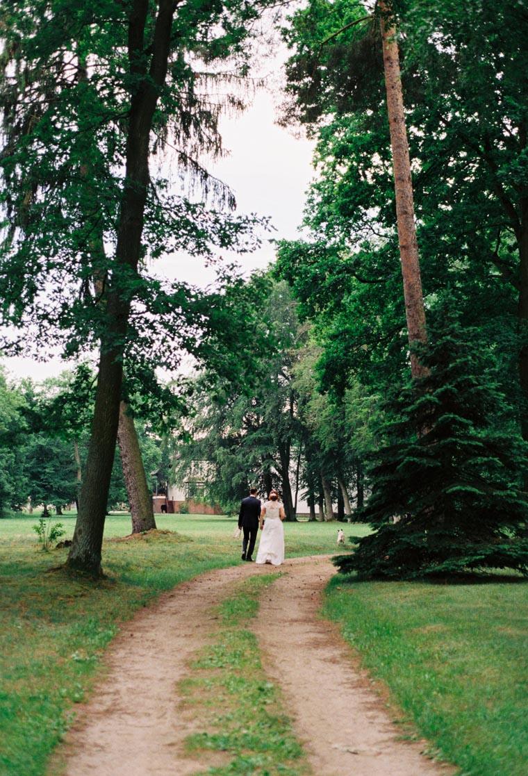 Hochzeitsfotos auf Film. Hochzeitspaar spaziert durch Wald.
