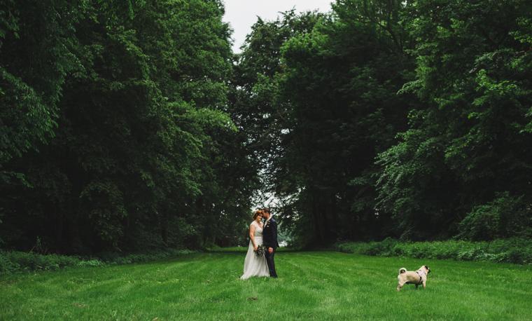 Verliebtes Hochzeitspaar auf Wiese in Brandenburg mit Hund