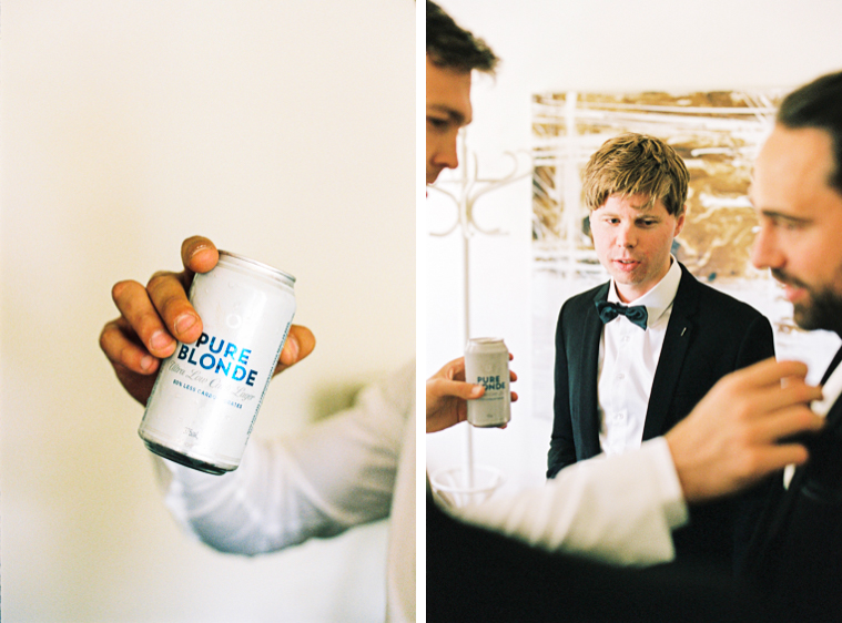 having a beer in the morning of the wedding