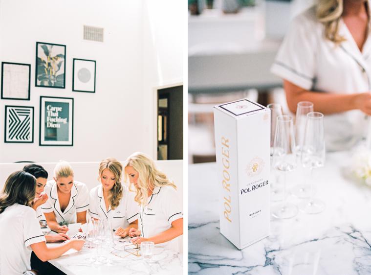 Braut und Ihre besten Freundinnen trinken Champagner