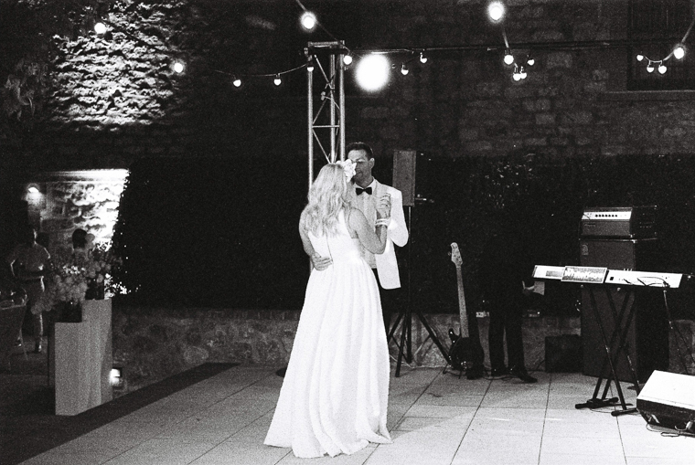 atmospheric black and white photo of couple during their first dance