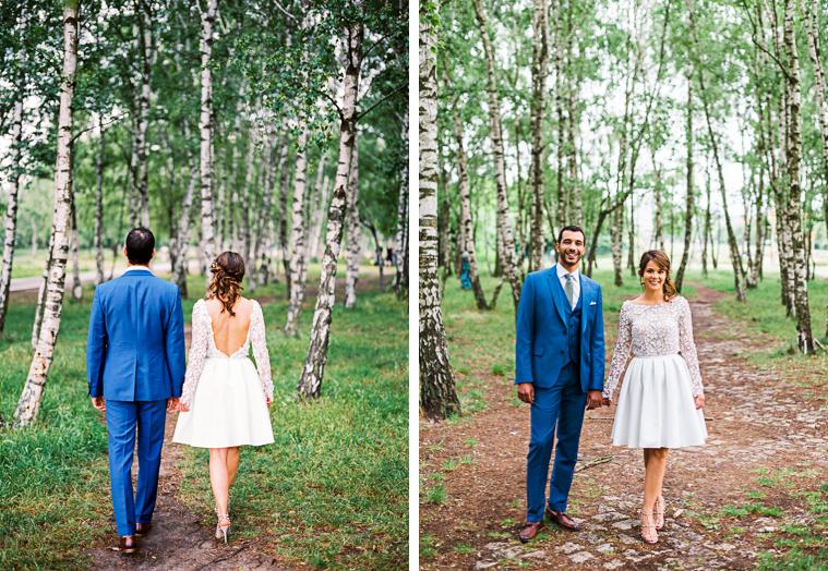 hochzeitsfoto in birkenwald