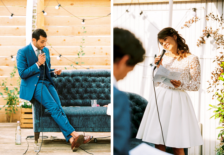 braut und bräutigam halten ihre rede