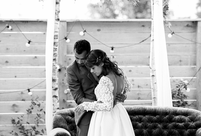 black and white photo of wedding couple