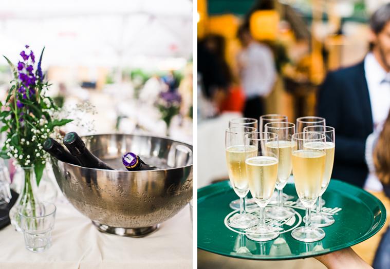champagne wird serviert