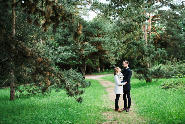 Engaged couple in botanical garden in Berlin