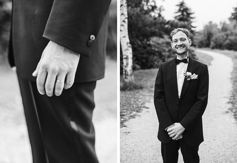 Gut aussehender Bräutigam in Schwarz Weiß