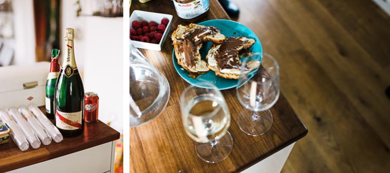 Hochzeitsfrühstück Champagne und Croissant