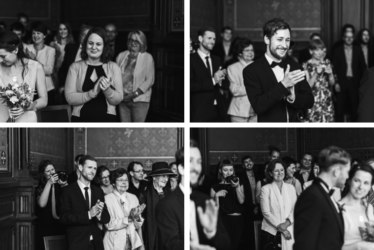 Collage applaudierende Hochzeitsgäste