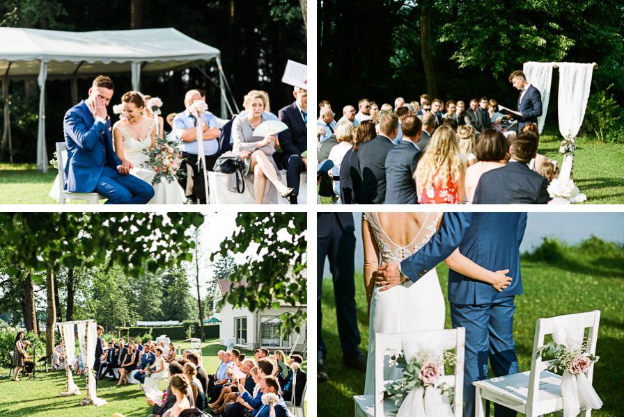 Collage Hochzeitspaar und Gäste
