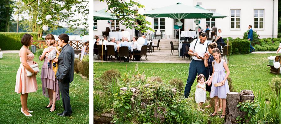 Collage Hochzeitsgäste am Ufer