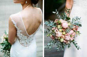 Hochzeitskleid und Bouquet