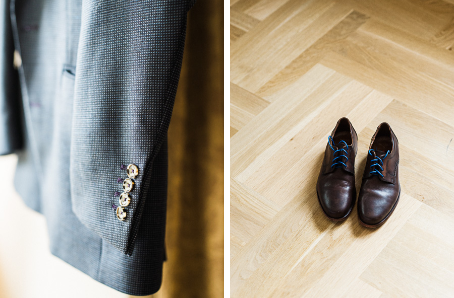 Anzug und Schuhe des Bräutigams