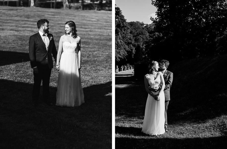 Kontrastreiche schwarzweiß Fotos von Brautpaar