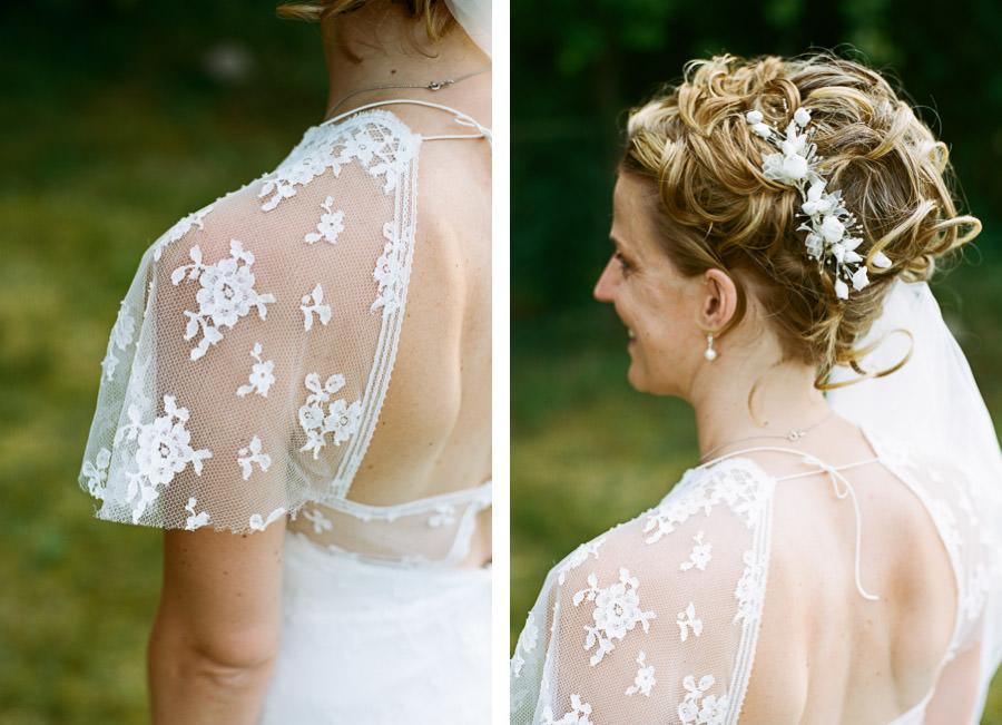 Nahaufnahme vom Kleid der Braut
